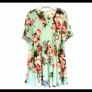 Wren & Ivory Sm Turquoise Rose Floral Babydoll Top